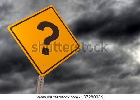 Story skies with question mark road sign