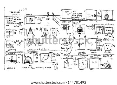 Storyboard Sketch drawing in white background. - stock photo