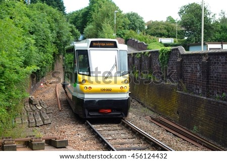 STOURBRIDGE, ENGLAND- JULY 10: A Parry People-Mover working the Stourbridge Junction to Stourbridge Town service. This 0.8 mile line is the shortest in Europe. July 10, 2016 in Stourbridge, England. - stock photo
