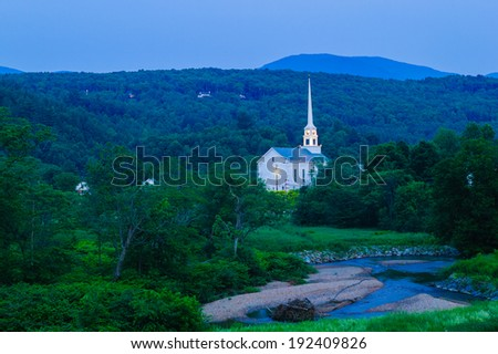 Stowe Community Church at dusk in Stowe, Vermont, USA - stock photo