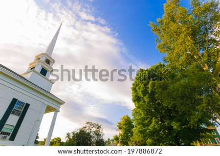 Stowe Community Church in late summer in Stowe, Vermont, USA