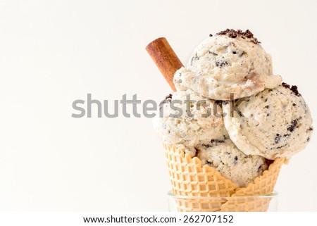 Stracciatella ice creams in cone,selective focus - stock photo