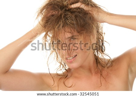 Straggle haired woman isolated on white background - stock photo