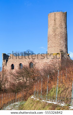 Strahlenburg Schriesheim  ancient Castle on blue sky background. Vineyard in winter