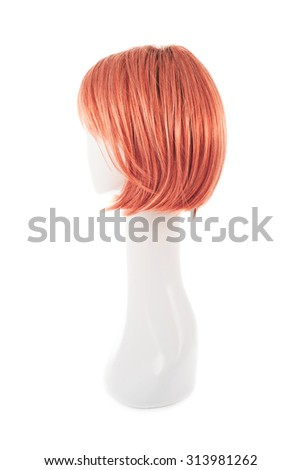 Straight hair wig over the white plastic mannequin head isolated over the white background - stock photo