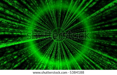 Straight Matrix like tunnel - stock photo