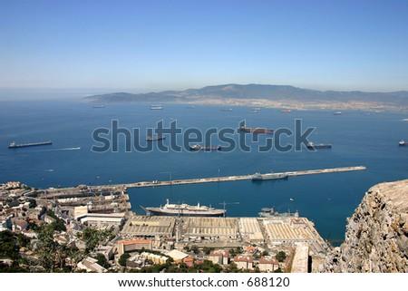 straight of Gibraltar - stock photo