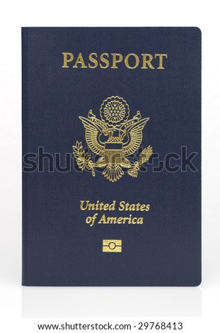 Straight on us passport with clipping path