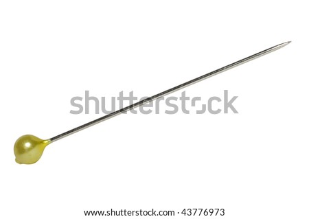 Straight pin isolated on white with clipping path - stock photo