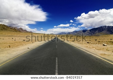 Straight road in Leh Ladakh, NH1 in Jammu and Kashmir, India - stock photo