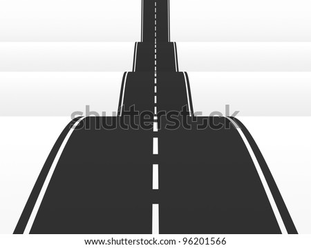 Straight road over the hills. 3d illustration - stock photo