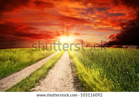 Straight road to heaven, abstract rural landscape - stock photo