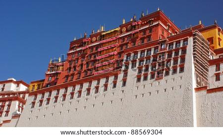 Straight rows of many windows in Potala palace - stock photo