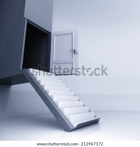 straight stairway to open door in conceptual space illustration - stock photo