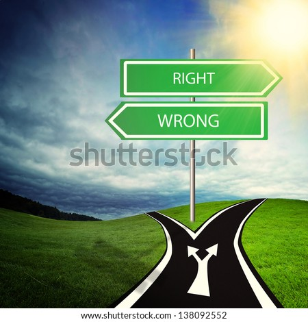 straight way with choice of wrong or right site - stock photo