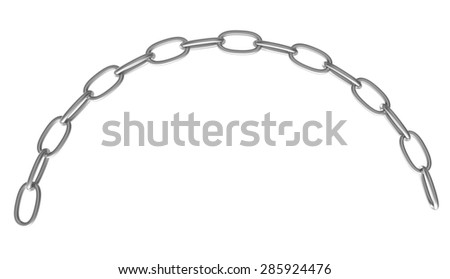 Strained chain from metal isolated on white  - stock photo