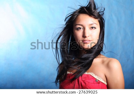 Strait look. Hair motion - stock photo