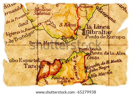 Strait of Gibraltar on an old torn map from 1949, isolated. Part of the old map series. - stock photo