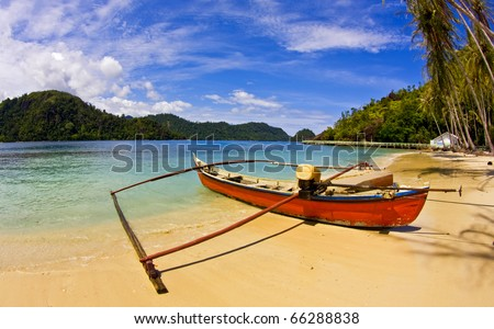 Stranded Boat in Sand - stock photo