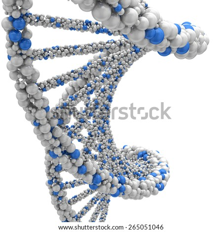 Stranded DNA molecule. 3d render on a white background. - stock photo