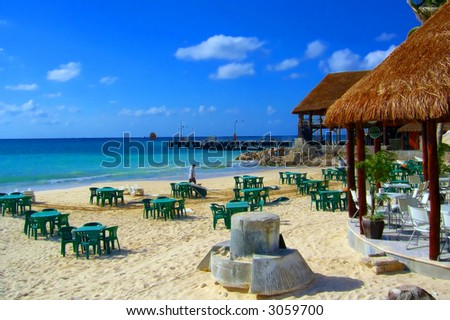Strange artifact in beach restaurant. Shot in Cancun, Mexico - stock photo