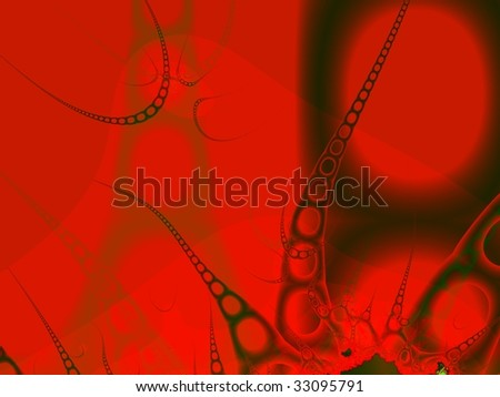 Strange being of chain form on red background. Computer-generated image