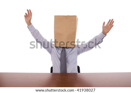 Strange business man with his arm outstretched celebrating something - stock photo