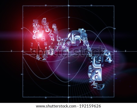 Strange Geometry series. Composition of  line drawing, math and geometry related elements to serve as a supporting backdrop for projects on mathematics, science, education and  technology - stock photo