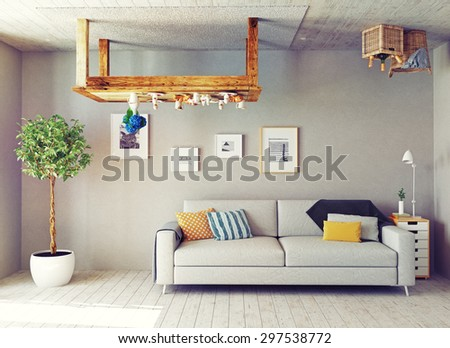 strange living room interior. 3d design concept - stock photo