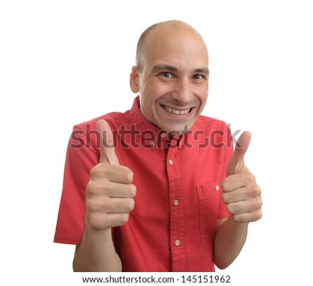 strange man showing his thumbs up - stock photo