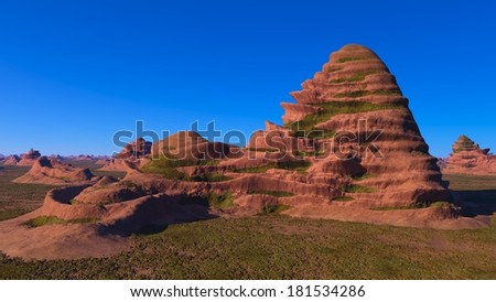Strange rock formations on a background of blue sky
