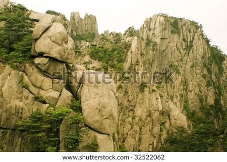 strangely shaped stone, huangshan, china - stock photo