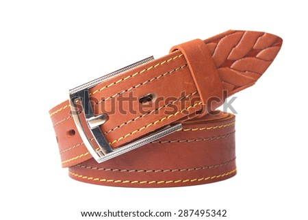 Strap beige leather - stock photo