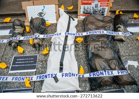 STRASBOURG, FRANCE - APR 26 2015: Protest against immigration policy and border management which asks for commitment in the wake of migrants boat disasters - stock photo