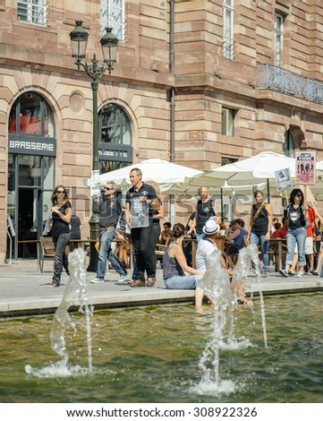 STRASBOURG, FRANCE - AUG 22, 2015: Marine conservation non-profit organization Sea Shepherd protesting against the slaughter of pilot whales and arrest of 7 crew members - solidarity marching - stock photo