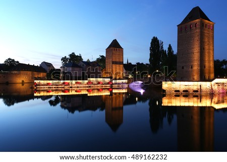 Strasbourg, France, 20 August 2016. Panoramic view of the city with bridges along the river at sunset, long exposure photography.