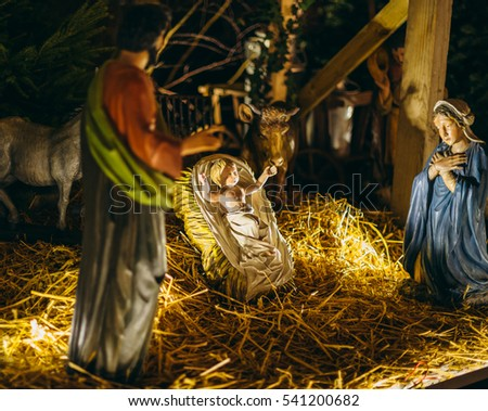 STRASBOURG, FRANCE - DECEMBER 20, 2016: Nativity scene statues during Christmas Market in Strasbourg, France with Jesus, Mary and Joseph