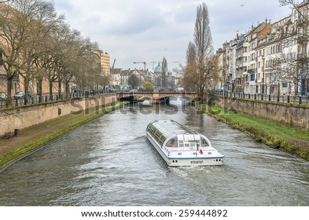 STRASBOURG, FRANCE - DECEMBER 21, 2014: Street view of Strasbourg. Strasbourg is the capital and principal city of Alsace region in eastern France and is official seat of European Parliament. - stock photo