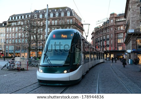 STRASBOURG, FRANCE - FEB 17, 2014: Kleber Strasbourg tram stop in the square is serving thousands of passengers every day - stock photo