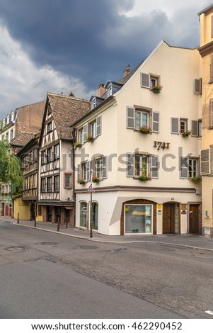 STRASBOURG, FRANCE - JUL 23, 2015: Old buildings on the waterfront