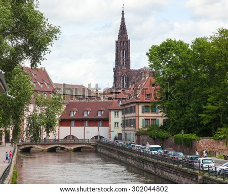 STRASBOURG, FRANCE - MAY 9, 2015:  Famous sandstone Notre Dame Cathedral in Strasbourg, capital of the Alsace region in France. It was the world's tallest building from 1647 to 1874. - stock photo