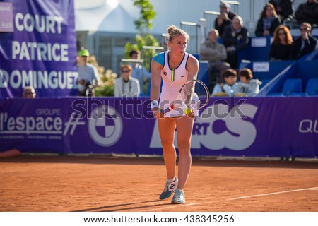Strasbourg, France - May 19, 2016 - Pauline Parmentier is ready to serve