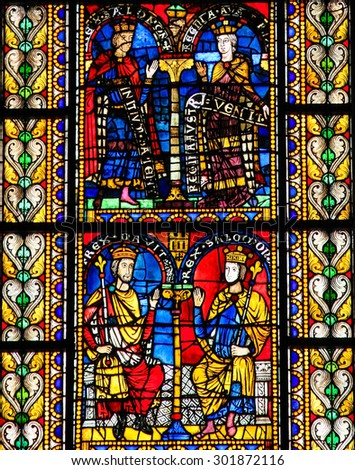 STRASBOURG, FRANCE - MAY 9, 2015: Stained glass depicting King Solomon and King David in the cathedral of Strasbourg, France - stock photo