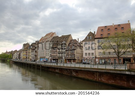 Strasbourg, France - May 08, 2014: Timber framing houses at chanel