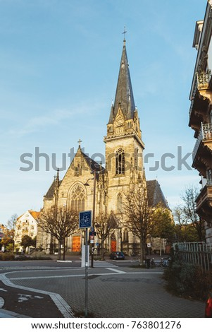 STRASBOURG, FRANCE - NOV 1, 2017: Saint Maurice Church on Avenue de la Foret Noire in Strasbourg on a fall day
