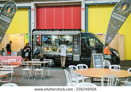 STRASBOURG, FRANCE - OCTOBER 30, 2015: Food truck in Strasbourg selling traditional Alsatian food for customers - stock photo