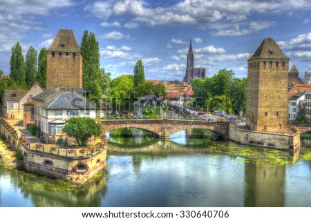 "Strasbourg, medieval bridge Ponts Couverts is located in the historic district ""Petite France"". Alsace, France. The historic center of Strasbourg is UNESCO World Heritage Site, HDR - stock photo"