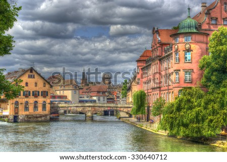 "Strasbourg, the historic district ""Petite France"". Alsace, France. The historic center of Strasbourg is UNESCO World Heritage Site, HDR - stock photo"