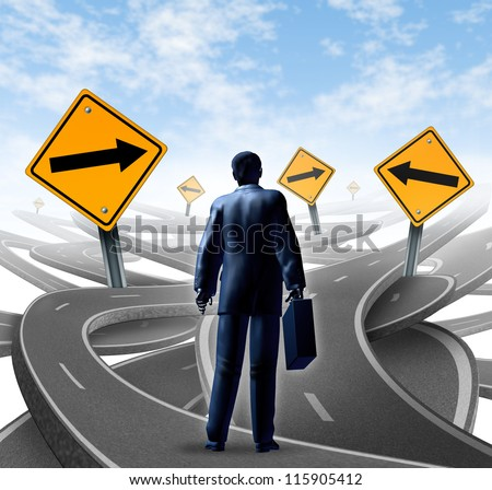 Strategic journey as a business man with a briefcase choosing the right strategic path for a new career with blank yellow traffic signs with arrows tangled roads and highways in a confused direction.