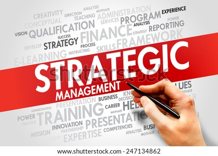 Strategic Management word cloud, business concept - stock photo